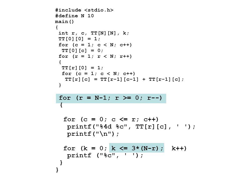 printf( %4d %c , TT[r][c], ); printf( \n );